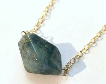 Aquamarine Nugget Necklace - Minimalist Chain - Gold Filled - March Birthstone - Mother's Day Gift