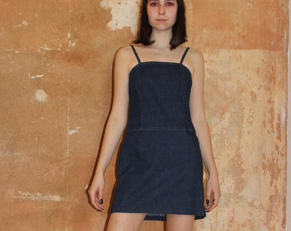 VTG TOMMY HILFIGER 90s strappy denim mini dress designer