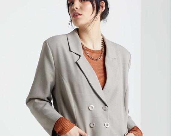 Grey Autumn Double Breasted Blazer