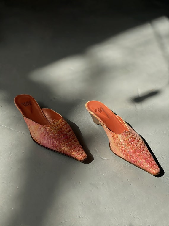 90's Snake Printed French Leather Mules Snakeskin… - image 1