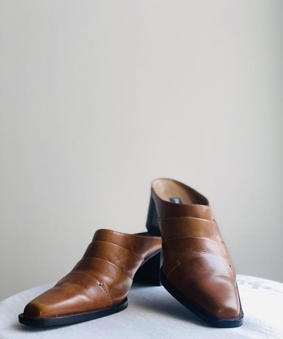 Leather Mules Y2K 90's Cowboy Boots Western - image 1