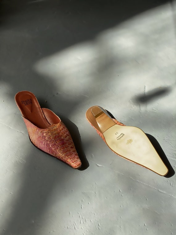 90's Snake Printed French Leather Mules Snakeskin… - image 4