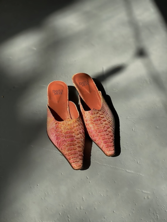 90's Snake Printed French Leather Mules Snakeskin… - image 3