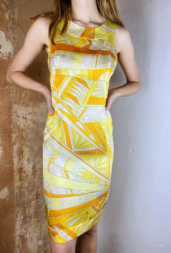 60's Italian Pucci Silk Dress Emilio Pucci Limone… - image 2
