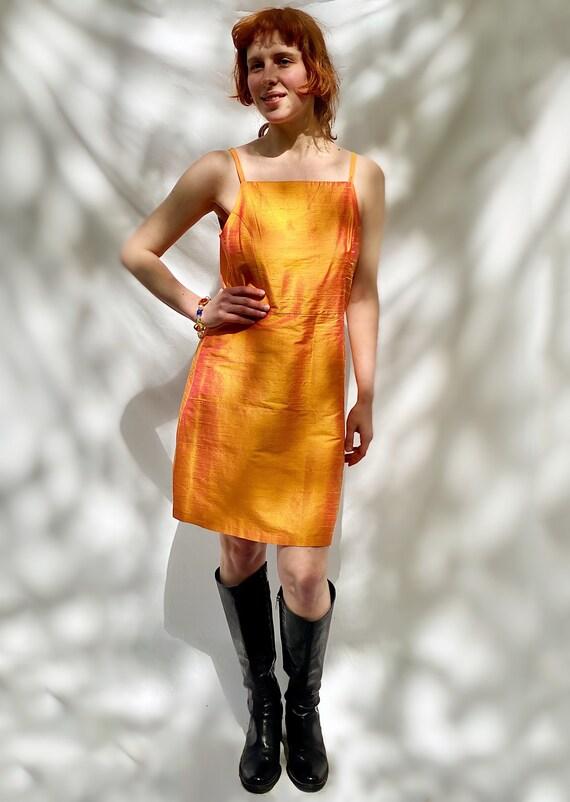 1990's Silk Dress French Orange Summer Mini