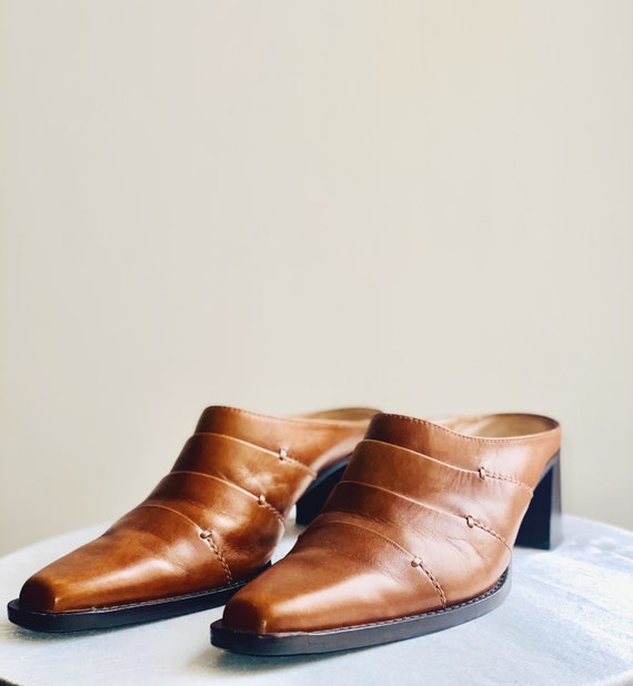 Leather Mules Y2K 90's Cowboy Boots Western - image 3