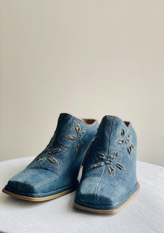 90's Squaretoe Denim Mules Cowboy Prada - image 2