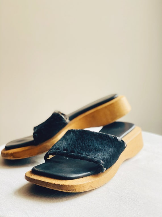 90's Squareshaped Wooden Cow-fur Mules