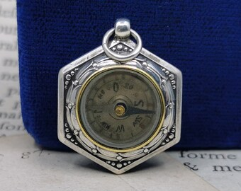 Silver Compass, Compass Charm, German Compass Pendant