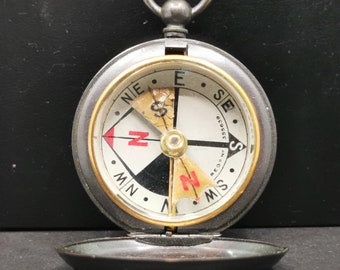 Antique British Pocket Compass, Military Compass, Francis Barker, Perfect Gift