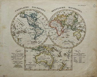 Reserved for Rasa - Rare World Map Eastern & Western Hemispheres and AUSTRALIA 1848 + 4x Antique Print, Cabinet of Curiosities - Birds