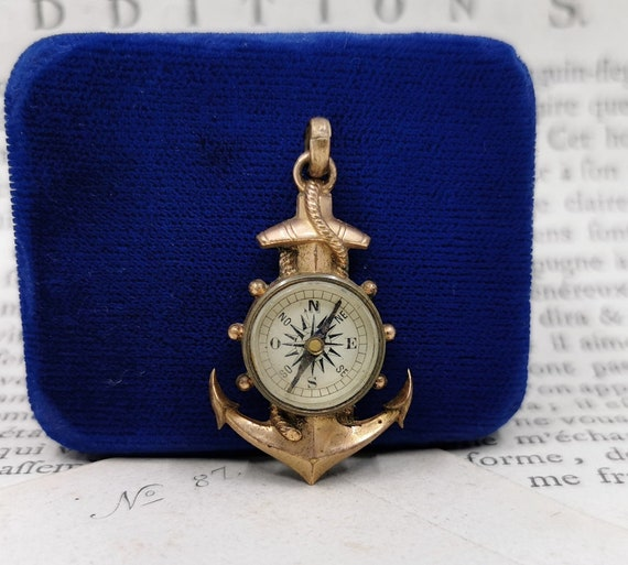 Vintage Anchor Charm, French Compass Charm