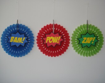 Super Hero Bam Pow Zap birthday party fan rosette wall decoration banner Set of 3 superhero