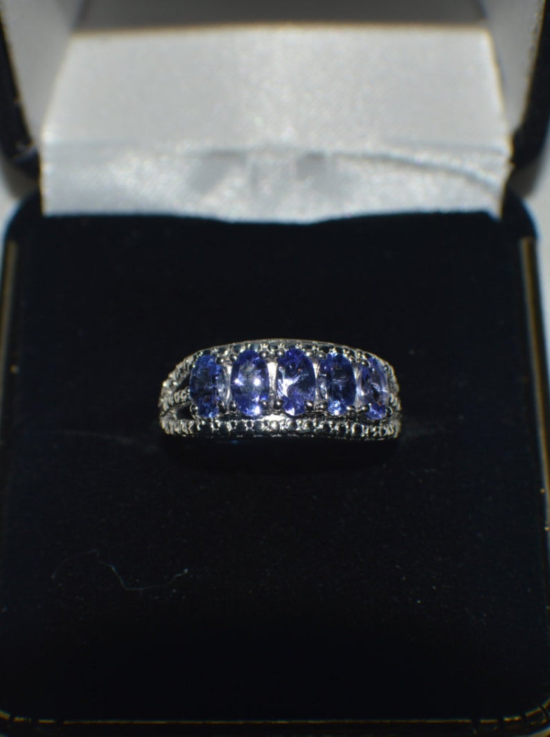 1.15ct Naural Tanzanite Cocktail Ring in Platinum over .925 Sterling Silver Size 5 an 6
