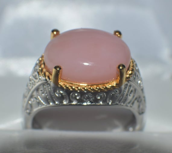 Natural Gemstone Genuine Peruvian Pink Opal Oval 16x12 mm Cabochon  set in platinum over sterling silver Cocktail Ring 6.60ct