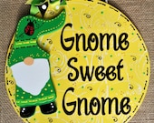 Spring Summertime Ladybug GNOME SWEET GNOME Circle Sign Wall Door Hanger Plaque Family Country Decor Handcrafted Hand Painted Wood Wooden