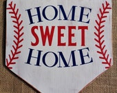 HOME SWEET HOME Distressed White Washed Baseball Plate Sign Primitive Handcrafted Wood Wooden Hand Painted Wall Door Plaque Wreath Deco
