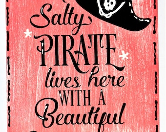 8295fedc3bd Salty PIRATE Lives Here With MERMAID SIGN Wall Plaque Beach Pool Deck Patio  Home Tropical Decor Handcrafted Hand Painted Wood Craft