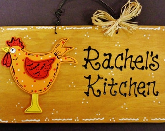 ROOSTER Personalized KITCHEN SIGN Name Country Chicken Wall Hanger Plaque Wood Wooden