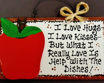 APPLE OVERLAY Hugs~Kisses~Dishes Kitchen Sign Country Decor Wall Plaque Wood Wooden