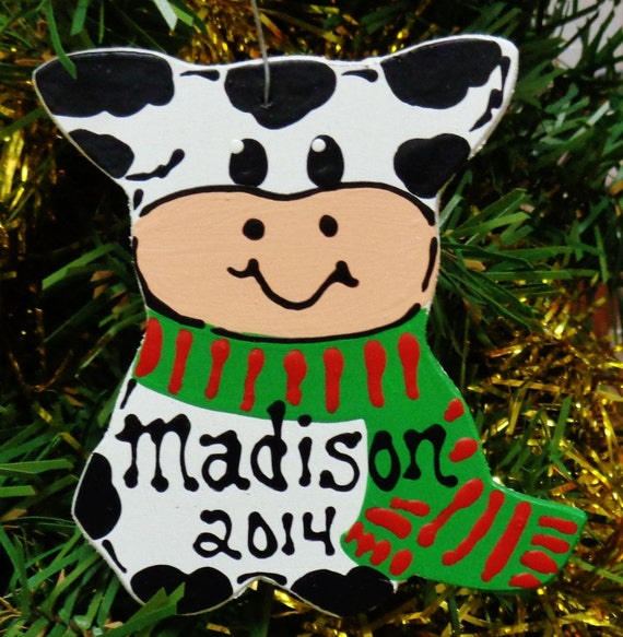 U CHOOSE Name & Date Personalized COW Christmas ORNAMENT