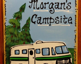 RV Motorhome CAMPER SIGN Personalized Name Camp Camping Travel Trailer Plaque Handcrafted Hand Painted Wood Wooden