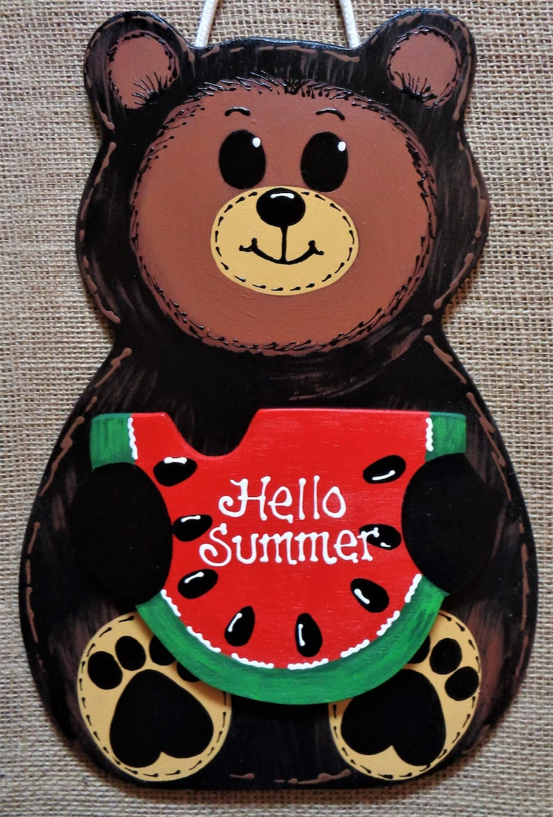 BROWN BEAR Hello Summer Watermelon SIGN Deck Tropical Hot Tub image 0