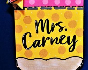 Personalized TEACHER PENCIL SIGN Name Plaque School Class Classroom Wall Hanger Handcrafted Hand Painted Wood Wooden Door Hanger