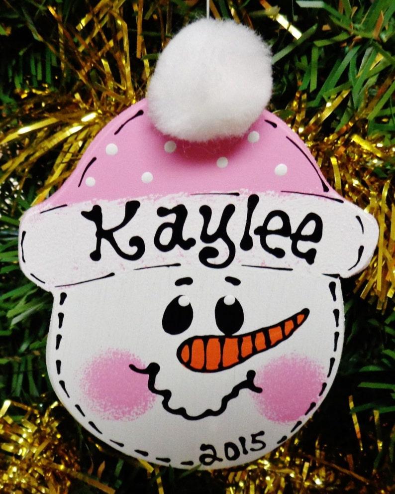 Pink Hat U CHOOSE NAME /& YEAR Personalized Snowman Christmas Ornament Kids Wood Wooden  Door Hanger
