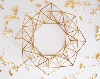 Himmeli Golden Brass Wreath // Modern Himmeli Wreath // Home Decor // Brass Decor // Scandinavian Geometric Ornament // Brass Decor