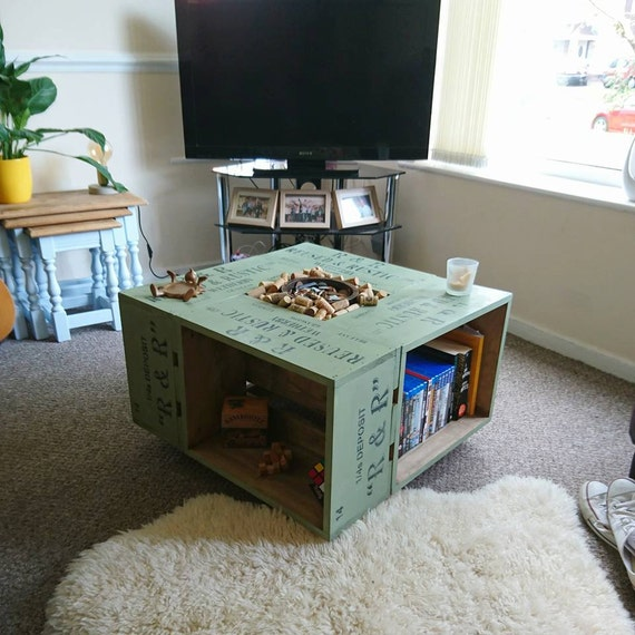 Retro Style Rustic Crate Coffee Table On Wheel Casters.