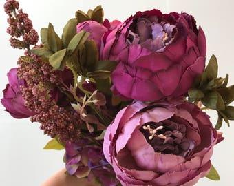 Purple, Peony Bouquet, fake flowers, artificial flowers, bridal bouquets, fake peony bouquet, artificial peony bouquet, wedding flowers