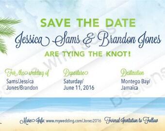 Save the Date, Wedding Invitation, Destination Wedding, Nautical, Boarding Pass, Cruise, Ship, Beach, Ocean, Downloadable, Ready to print