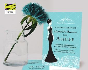 Printable, Bridal Shower Invitation, Breakfast at Tiffany's, Bachelorette, Blue, Teal, Seafoam, Mint, Black, Classy, Vintage, Silhouette