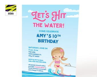 Printable, Water Ski, Invitation, Birthday Girl, Lets Hit the Water, Lake Party, Water Party, Beach Party, Birthday Invitation