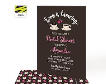 Printable, Bridal Shower Invitation, Love Is Brewing, Coffee, Brunch Bridal Shower, Coffee Shop, Pink and Brown, Coffee Shop Bride, Digital