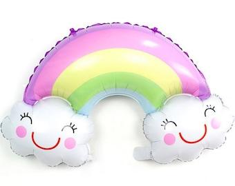 """36"""", Rainbow Balloon, Jumbo, Foil, Mylar, Balloon, Smiling Rainbow, Happy Birthday, Pastel Rainbow, Rainbow Party, Party Decor, Get Well"""