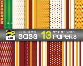 Digital Paper, Washington football, Paper Craft, Sports, Burgundy, Gold, Jamberry, Football Party, Commercial Use, Scrapbook