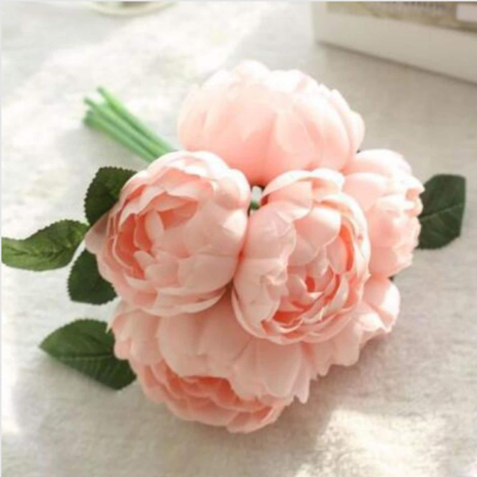 Pink peach peony bouquet fake flowers artificial flowers etsy zoom izmirmasajfo