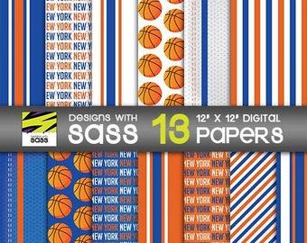 Digital Paper, New York basketball, orange, blue, Basketball, Sports, Scrapbook paper, background, Pattern, NY basketball