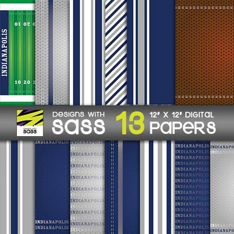 Digital Paper Colts Indianapolis Football Sports Blue image 0