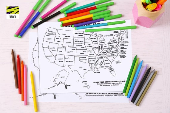 Kid\'s, Map of the USA, States, Capitals, Children\'s, Learning, Placemat,  Reusable, Activity, Geography, Laminated, United States of America