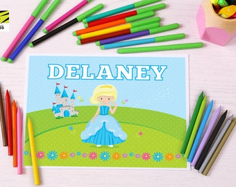 Kid's, Learning, Placemat, Cinderella, Activity, Laminated, Coloring, Princess, Color, ABC, Numbers, Learn to Write, Alphabet, Homeschool
