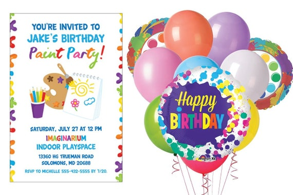 20 Birthday Party Invitation Sheets Happy Faces Balloons Invites With Envelopes