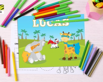 Kid's, Learning, Placemat, Children's, Activity, Laminated, Color, Zoo, Safari, Animals, ABC, Numbers, Learn to Write, Alphabet, Educational