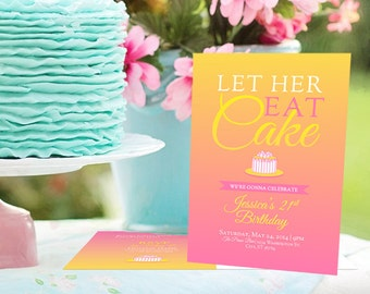 Birthday, Invitation, Let Her Eat Cake, Printable, Party, Sweet 16, Postcard, Girls Night Out, 21st Birthday, Pink, Ombre, Let Them Eat Cake