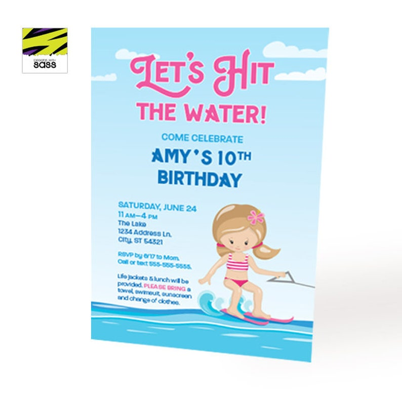 Printable Water Ski Invitation Summer Party Birthday Girl image 0