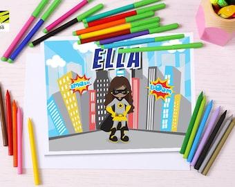 Batgirl, Batman, Kids Superhero, Activity Mat, Learning, Childrens, Laminated, Color, ABC, Numbers, Learn to Write, Alphabet, Homeschool
