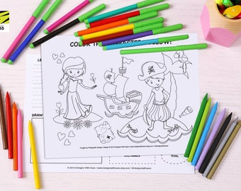 Kid's, Learning, Placemat, Children's, Activity, Laminated, Princess, Pirate, Color, ABC, Numbers, Learn to Write, Homeschool, Pre-K