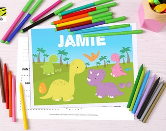 Kid's, Learning, Placemat, Children's, Activity, Laminated, Coloring, Dinosaur, Color, ABC, Numbers, Learn to Write, Alphabet, Homeschool